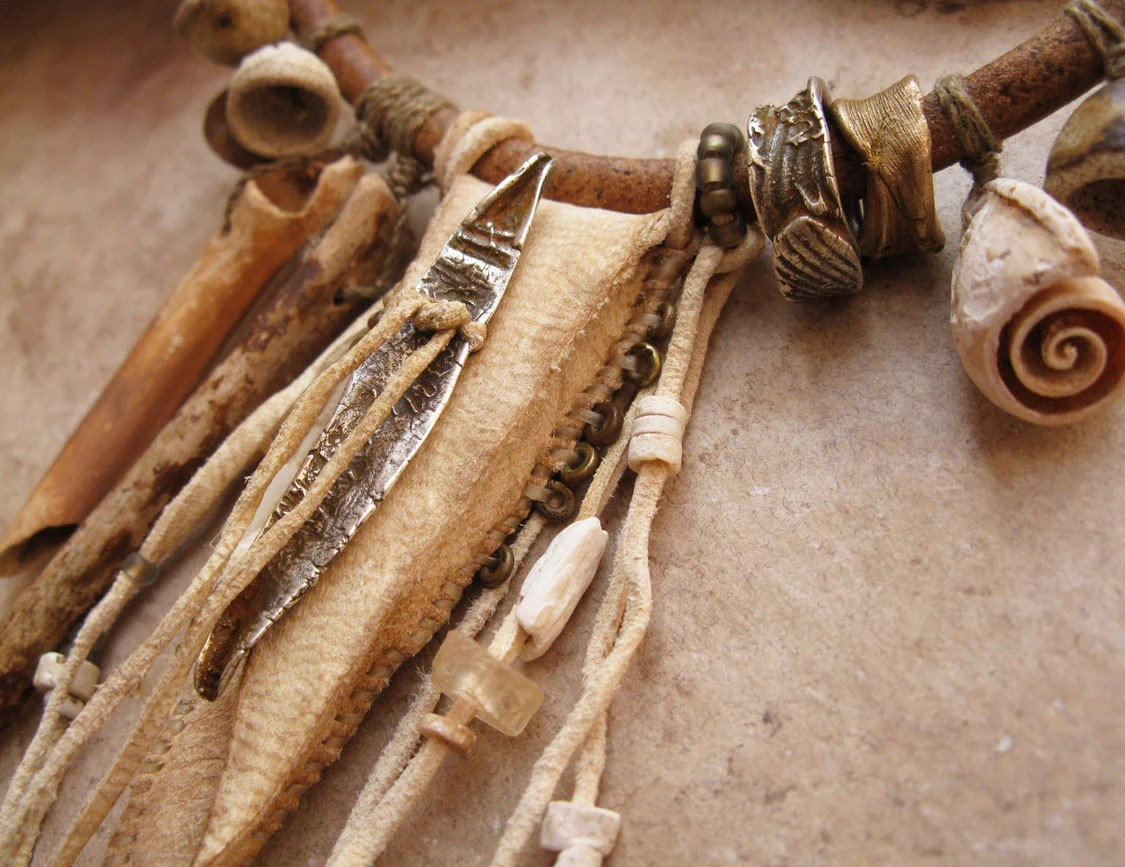 Desert Primitive Amulet Pouch And Artifact Necklace