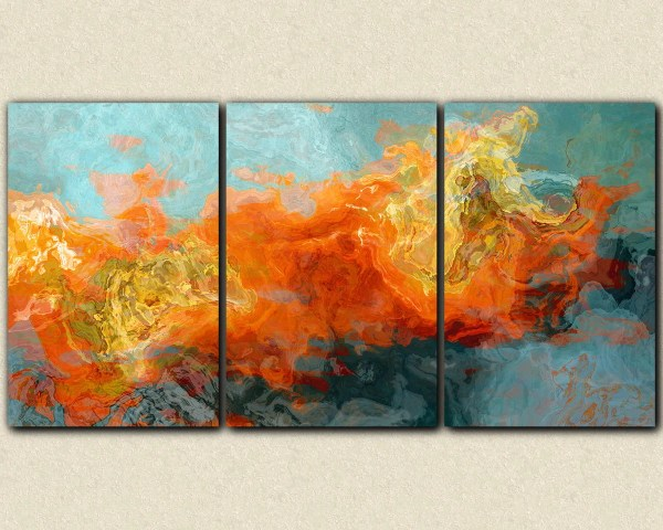 Abstract Art 40x78 Oversized Triptych Wrap Giclee