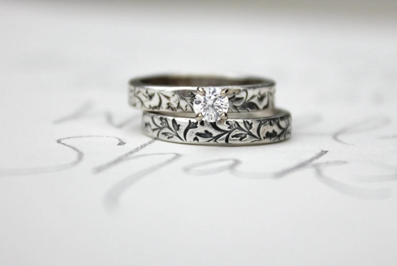 custom ethical diamond engagement ring wedding band set