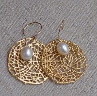 White Pearls on Gold Spider Web Earrings. Wedding Fresh Water
