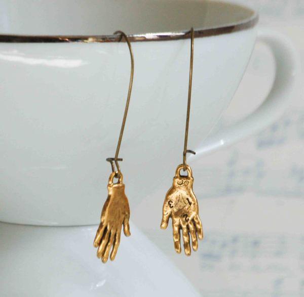Hand Earrings Charms Gold Frida Kahlo Whimsical Palmistry