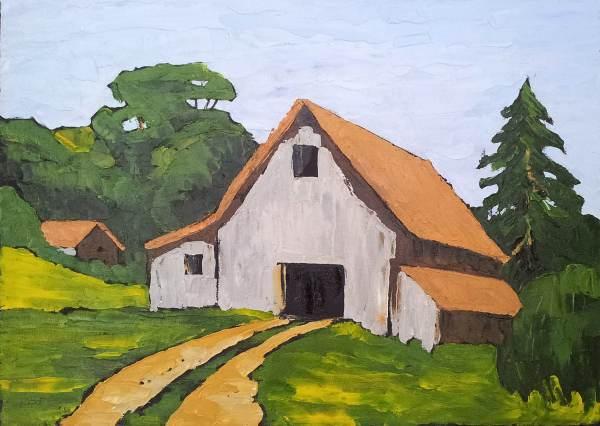 Free Shipping California Farm Barn Oil Painting Rustic