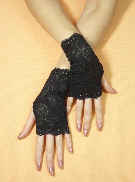 Items Similar To Short Black Gothic Gloves Fingerless