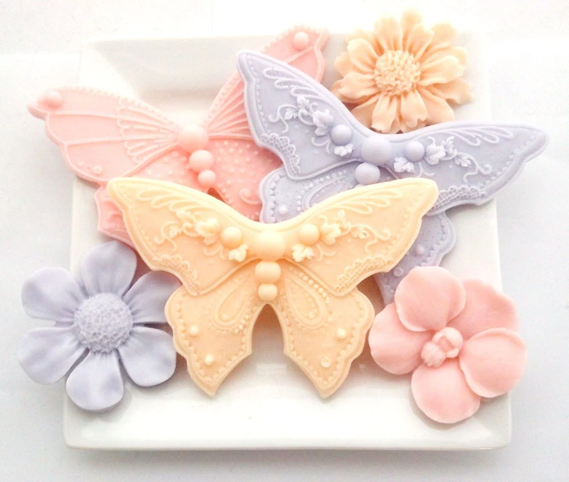 Butterfly And Flower Soaps Decorative Soap Hostess Gift Soap
