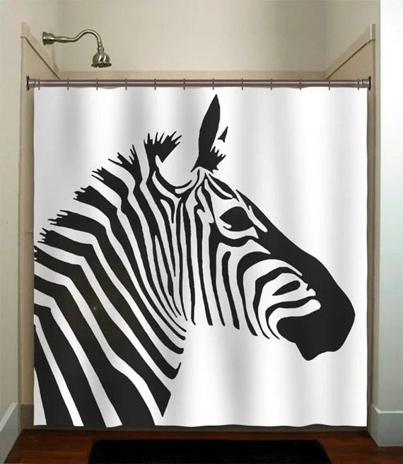 stripe horse zebra shower curtain bathroom decor by TablishedWorks
