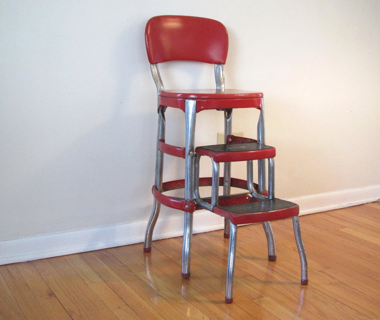 folding kitchen step stool small pantry ideas vintage cosco / retro red