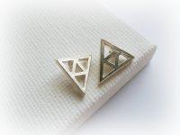 Legend of Zelda Triforce Earrings Trianlge silver studs