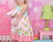 Pastel Easter dress rainbow dot girls dress - SoSoHippo