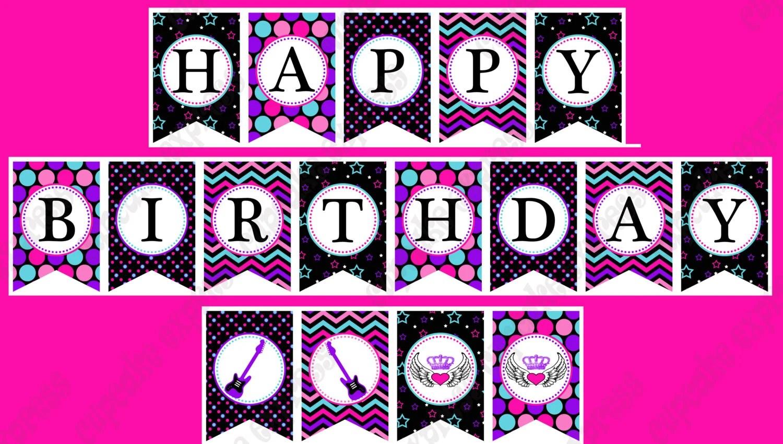 Rockstar Girl Birthday Banner PRINTABLE Party hot pink teal