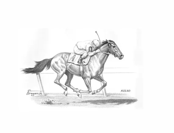 KELSO 1960 Horse of the Year by Allen F. Brewer Jr. Print