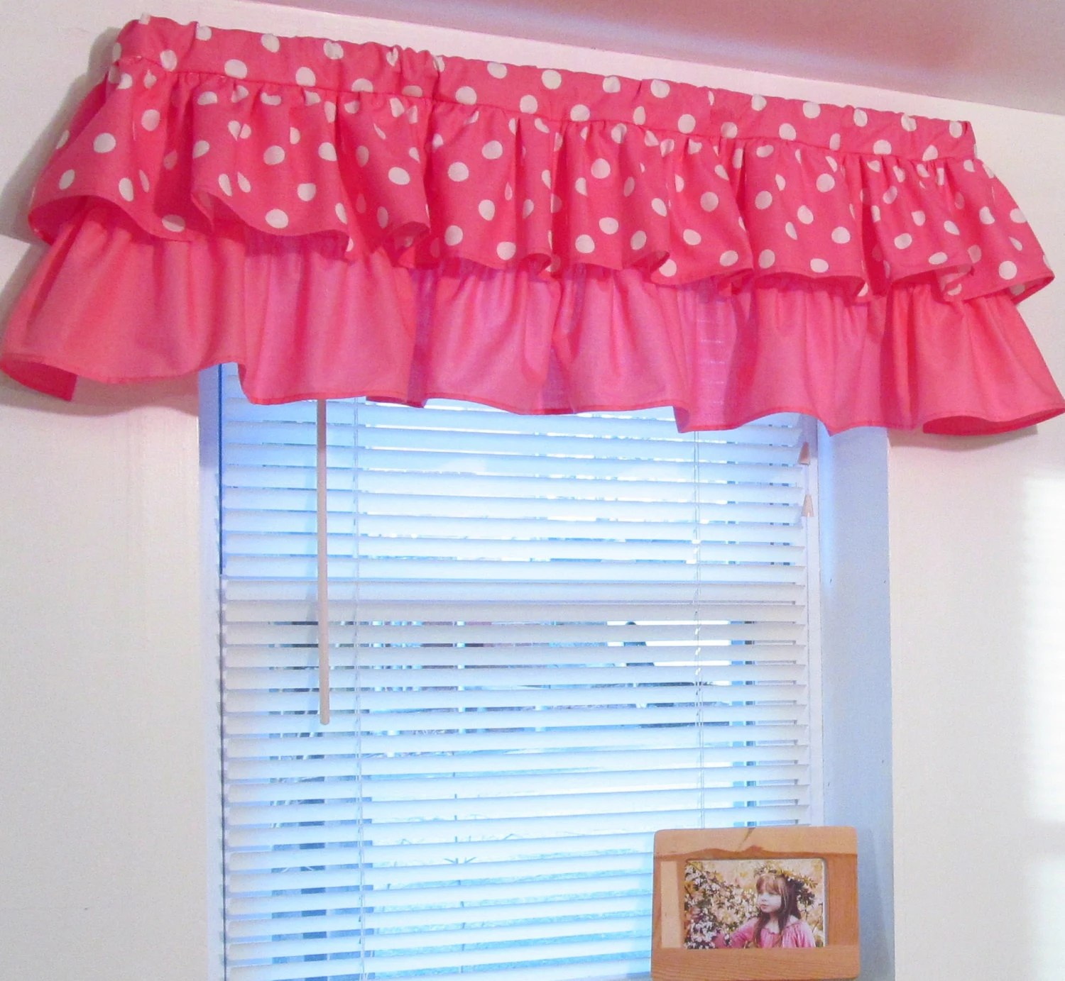 Tiered Ruffled Valance Pink Polka Dot Minnie Mouse Custom