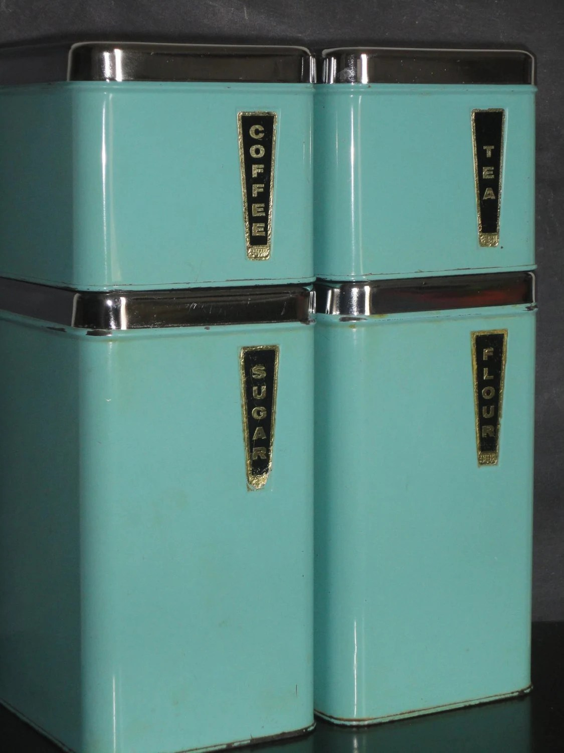 Vintage Mid Century Metal Kitchen Canister Set Turquoise Blue