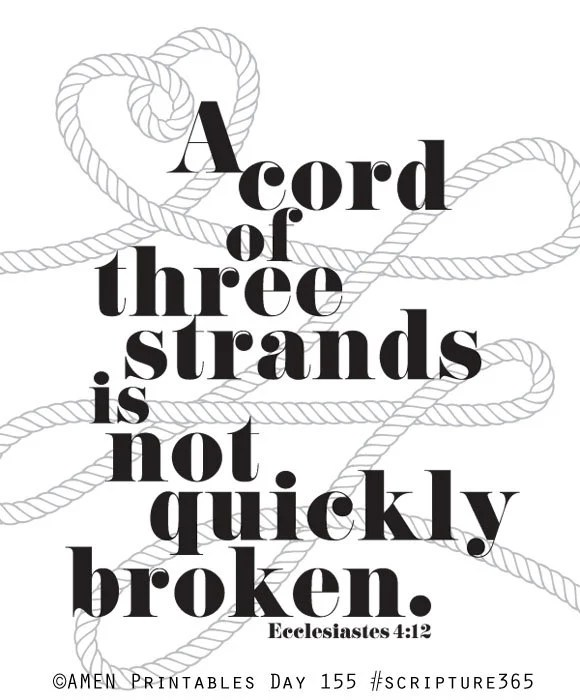 Ecclesiastes 4:12. A Cord of Three Strands is by