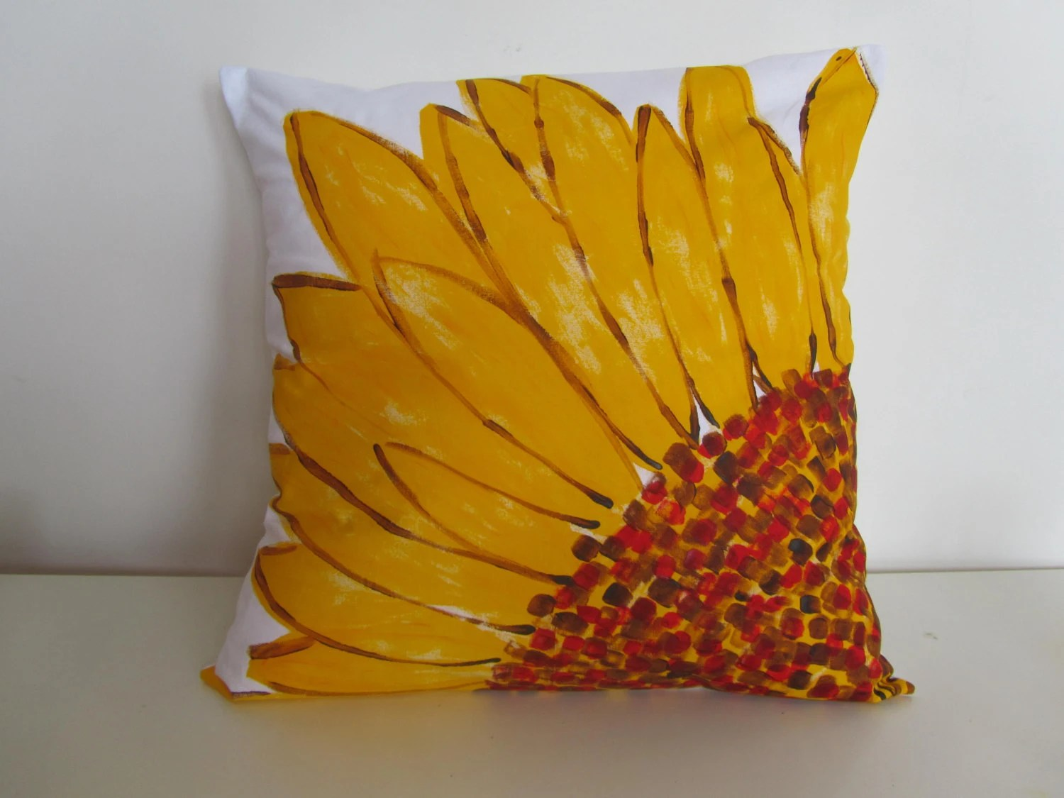 Hand painted bright yellow gerbera flower floral one decorative throw pillow cover cushion 18 inch - CreativelyCouture