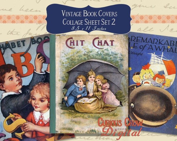 Vintage Book Covers Digital Collage Sheet Cute Set