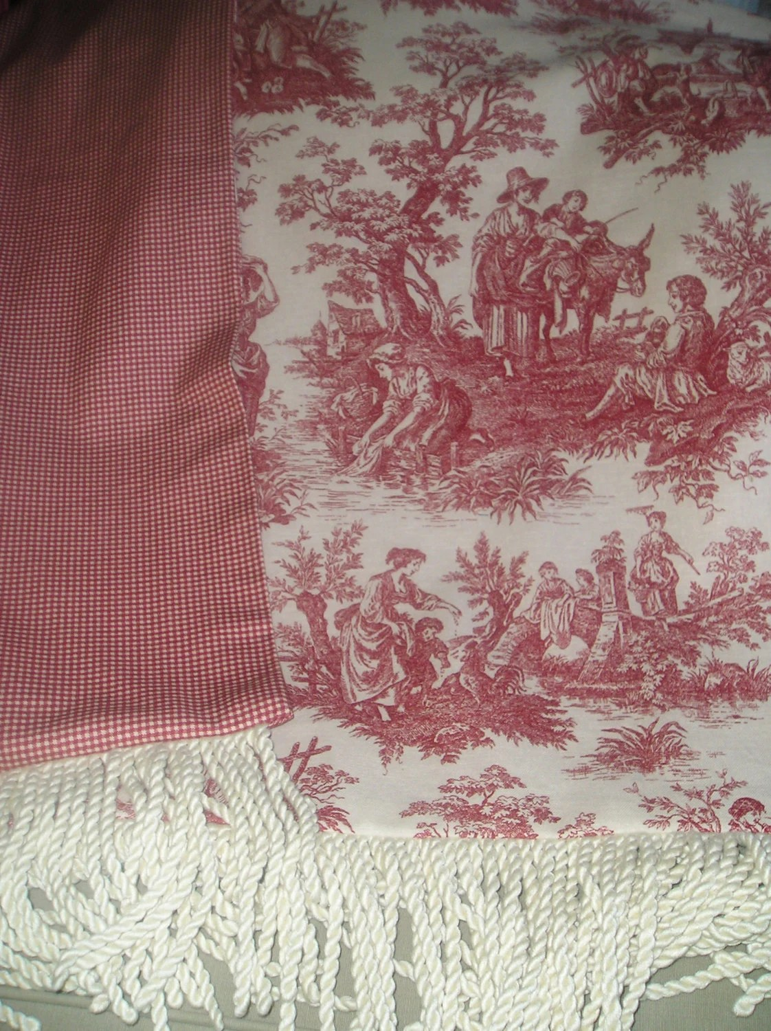 French Country Toile Throw Blanket in Red and Off by