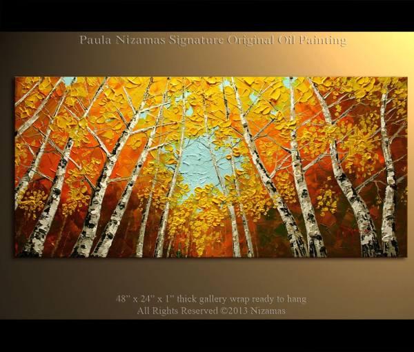 Birch Tree Modern Art Oil Paintings