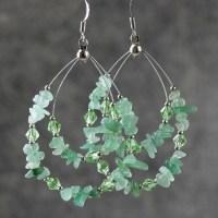 Green Jade big tear drop hoop Earrings handmade by ...
