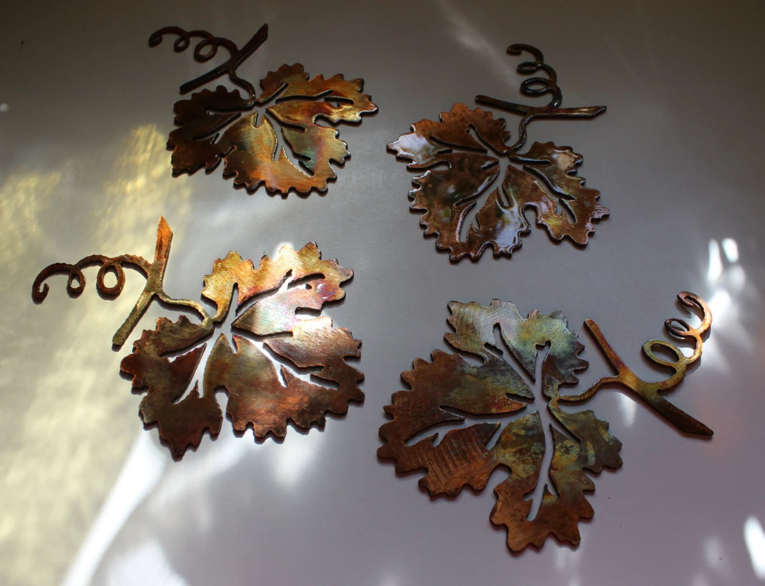 Metal Wall Art Grape Large Leaves Set Of 4 By