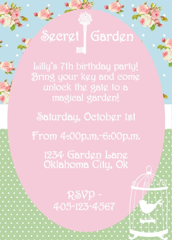 secret garden party invitation
