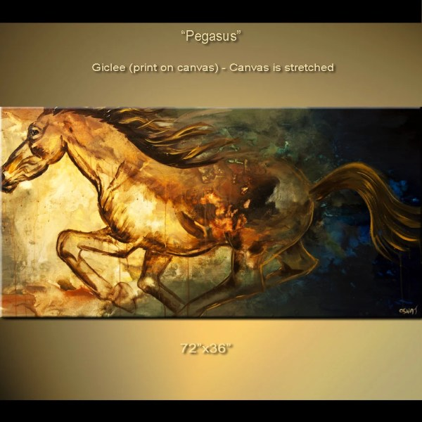 72x36 Contemporary Abstract Horse Print Stretched Osnatfineart
