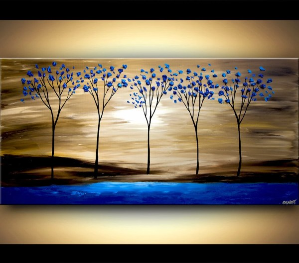 Original Abstract Contemporary Lake Acrylic Painting