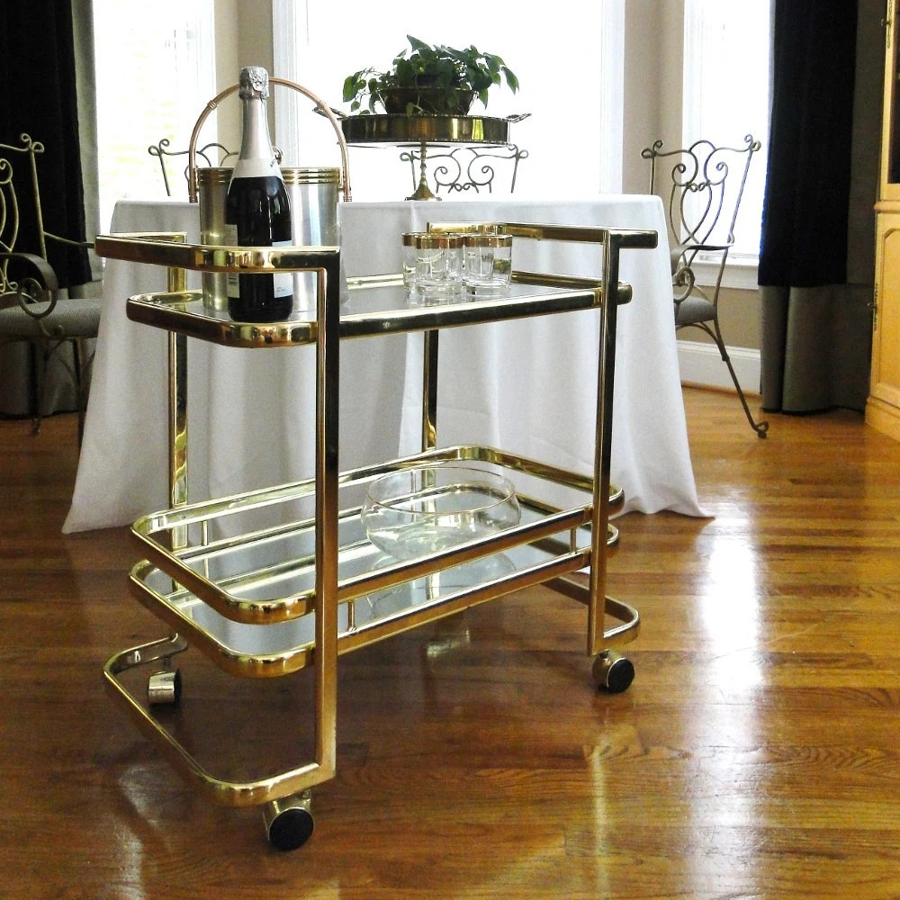 Vintage Bar Cart Hollywood Regency Gleaming Gold Geometric