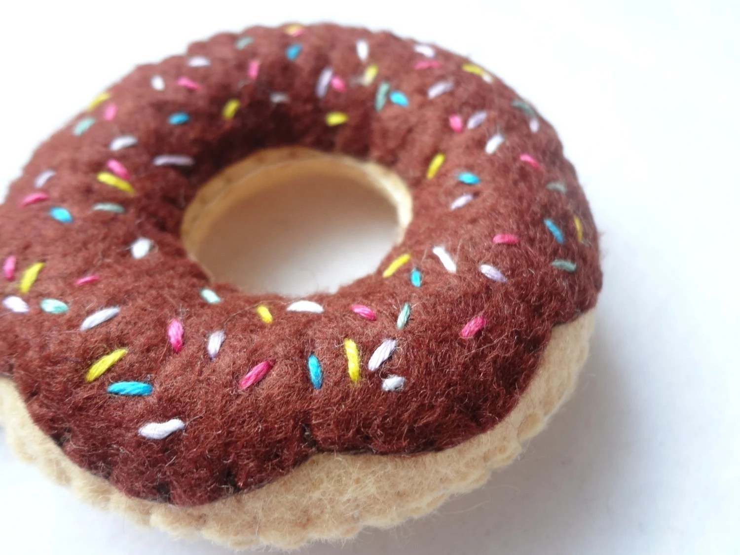 Cute Felt Chocolate Donut with Sprinkles Key Chain or doughnut  keyring - shopofworldlydelight