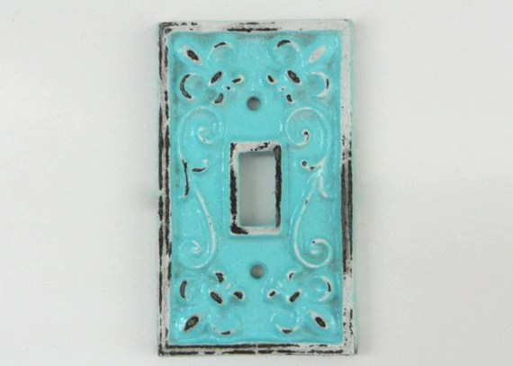 Aqua Switch Plate Cast Iron Covers Decorative Fixture Shabby