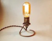 Hand Forged Edison Lamp.  Base is solid copper. Makes a great table, accent, mantle or night light. Wedding Lamp. - IroncladIndustrial