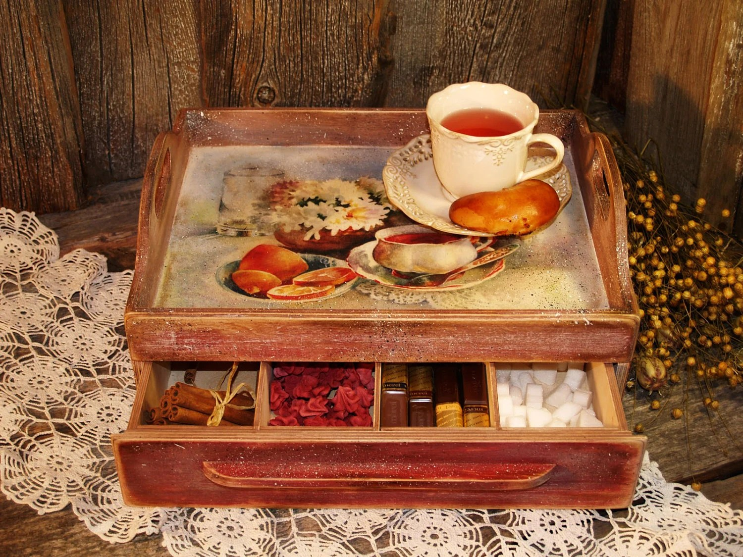 Wooden Serving Tray Coffee Tea Tray Rustic Style Looking