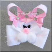 pink bunny hair bow easter