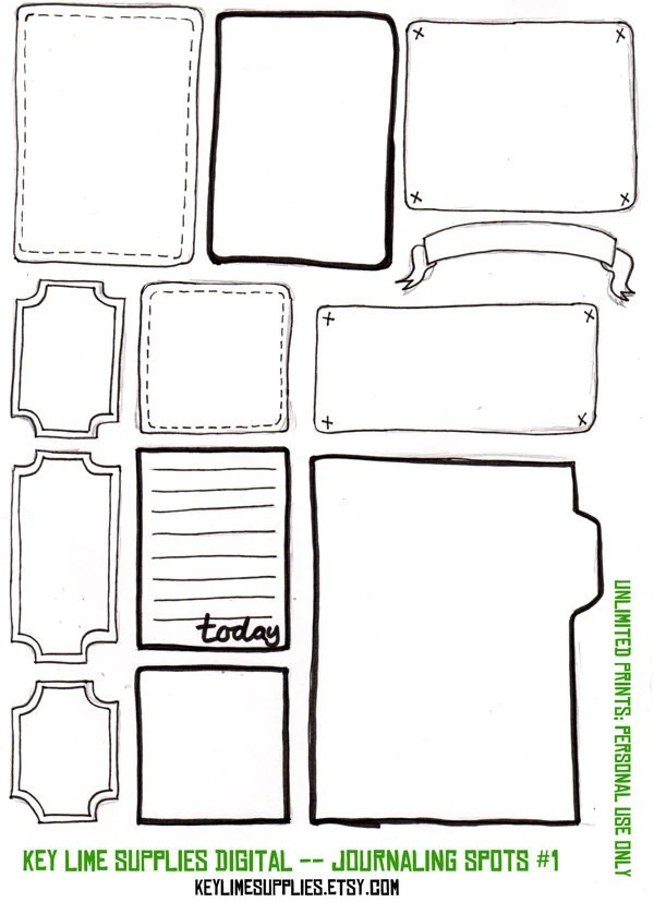 Blank Printable Art Journal Collage Sheet Hand Drawn for