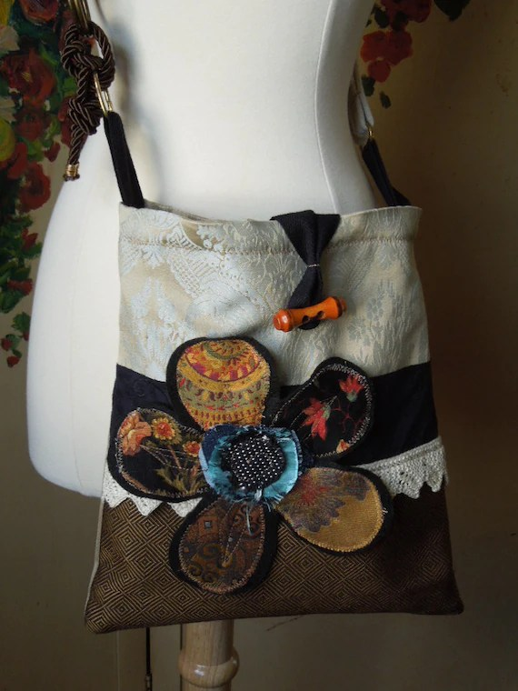 Shabby Chic CROSSBODY Bag Upcycled HIP Bag SLING Bag Boho
