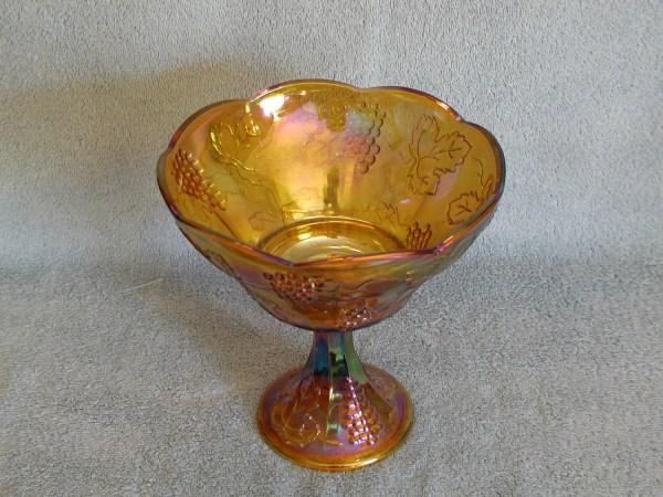 Carnival Glass Pedestal Bowl Marigold