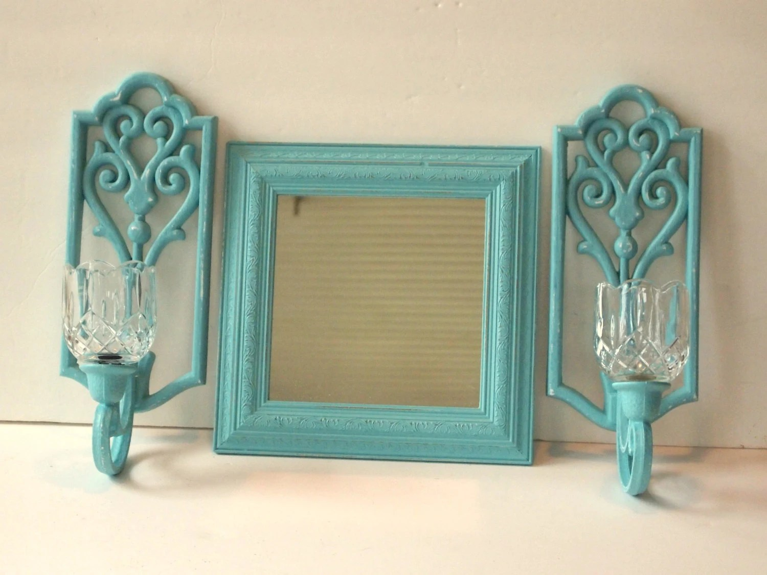 Candle Sconces With Votive Holders And Mirror By MollyMcShabby