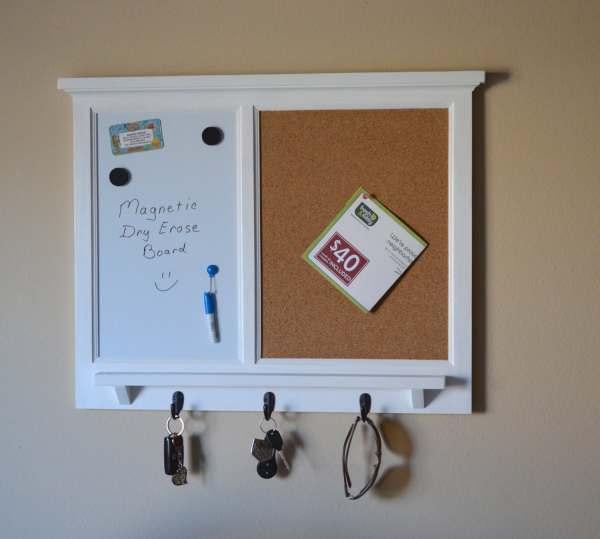 Dry Erase Cork Board Organizer with Hooks