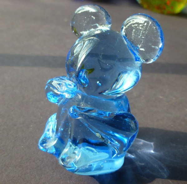 Vintage Art Glass Paper Weight Blue Bear United States