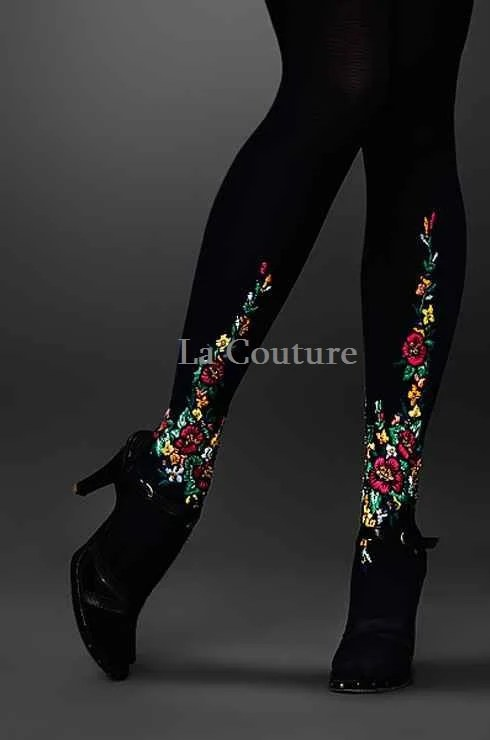 TIGHTS with embroidery - AtelierLaCouture