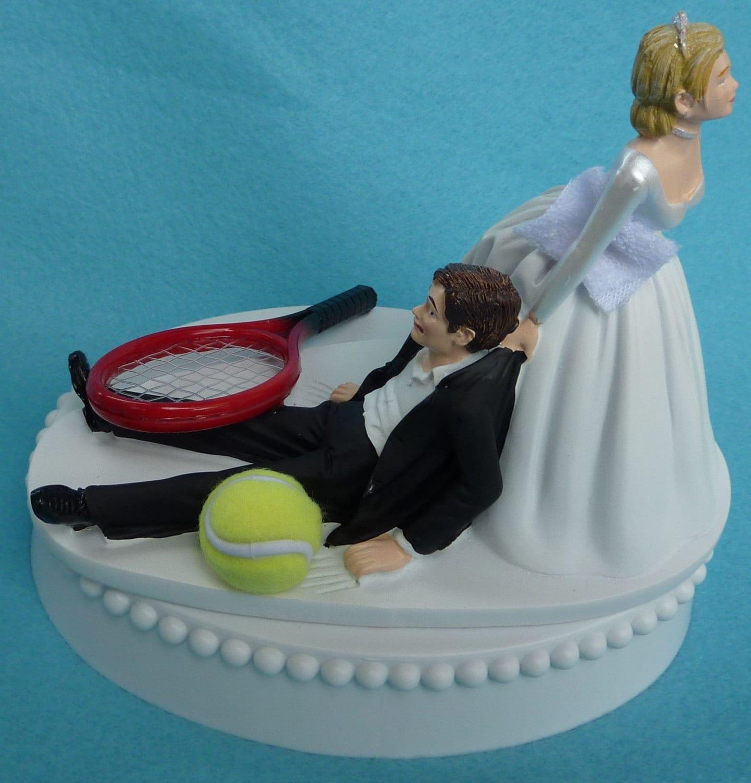 Wedding Cake Topper Tennis Player Ball Racquet Sports Groom