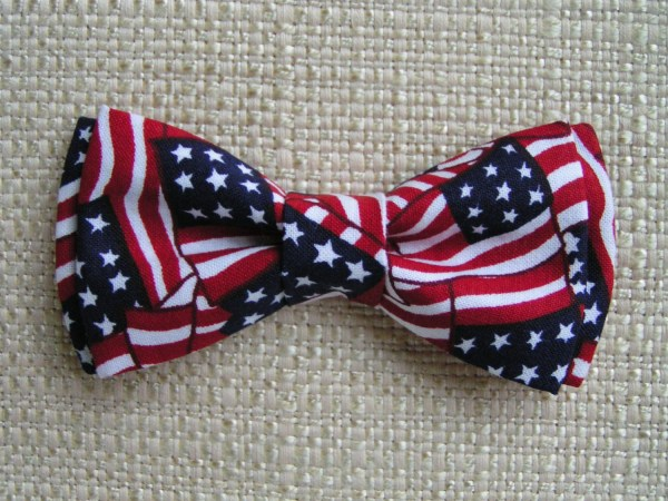 American Flag Bow Tie Clip Kidsred White Blue