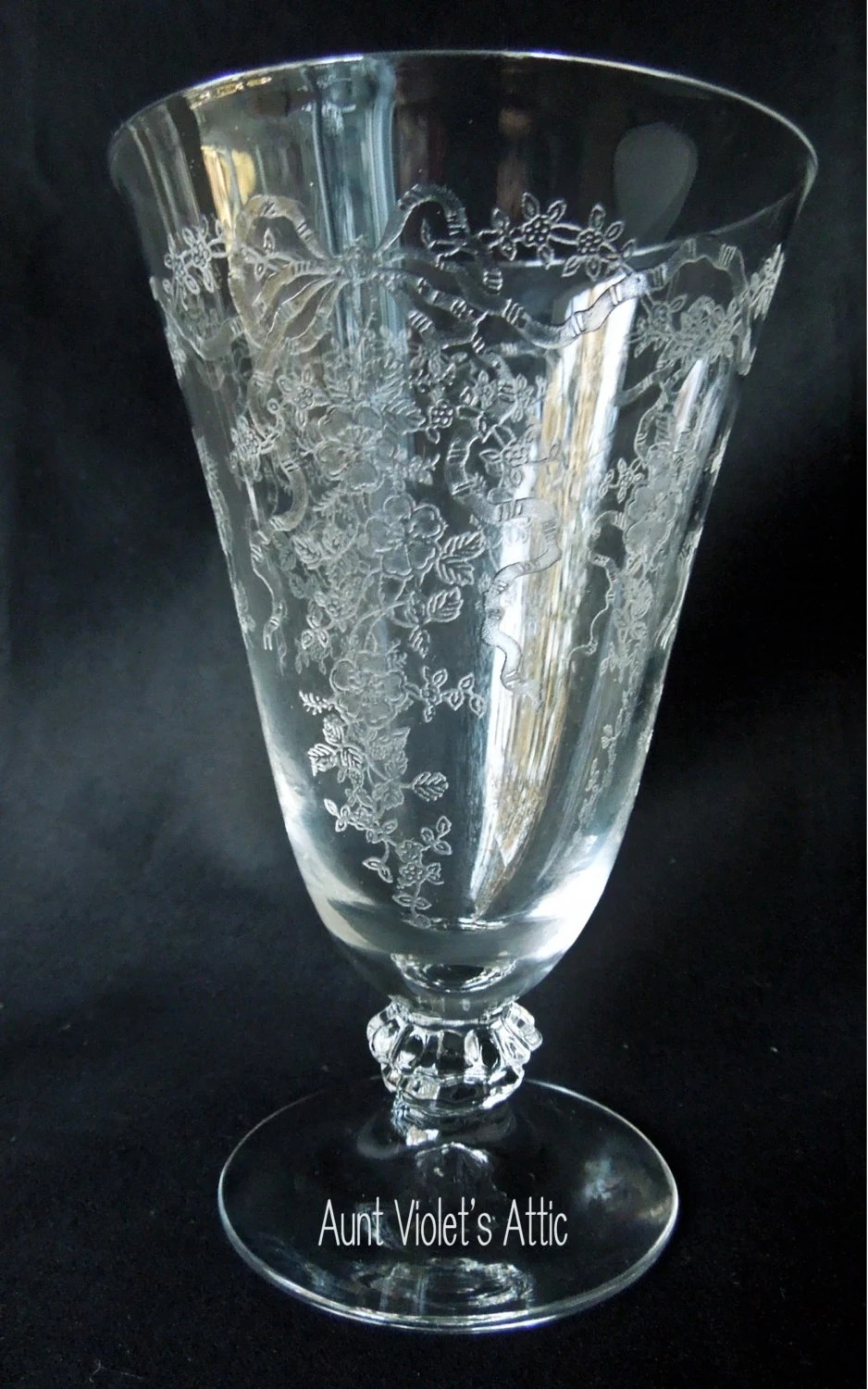 Crystal Etched Glass Drinking Glass Beautiful By