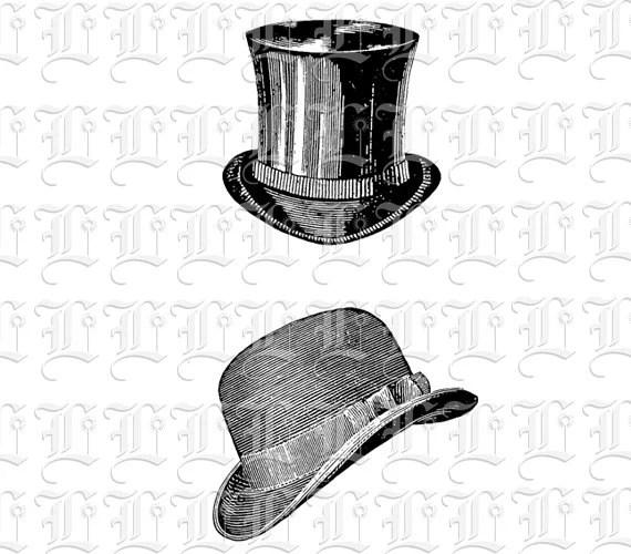 Gentlemen Hats Retro Victorian Clipart Digital Collage