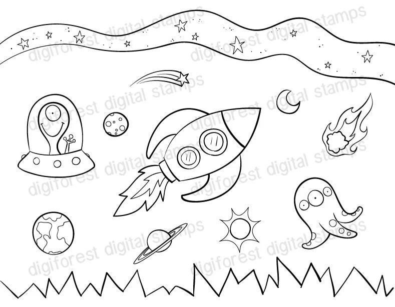Popular items for space coloring page on Etsy