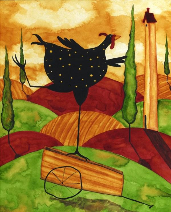 Hubbs Art Folk Prints Whimsical Funny Chicken Hen Italian Farm