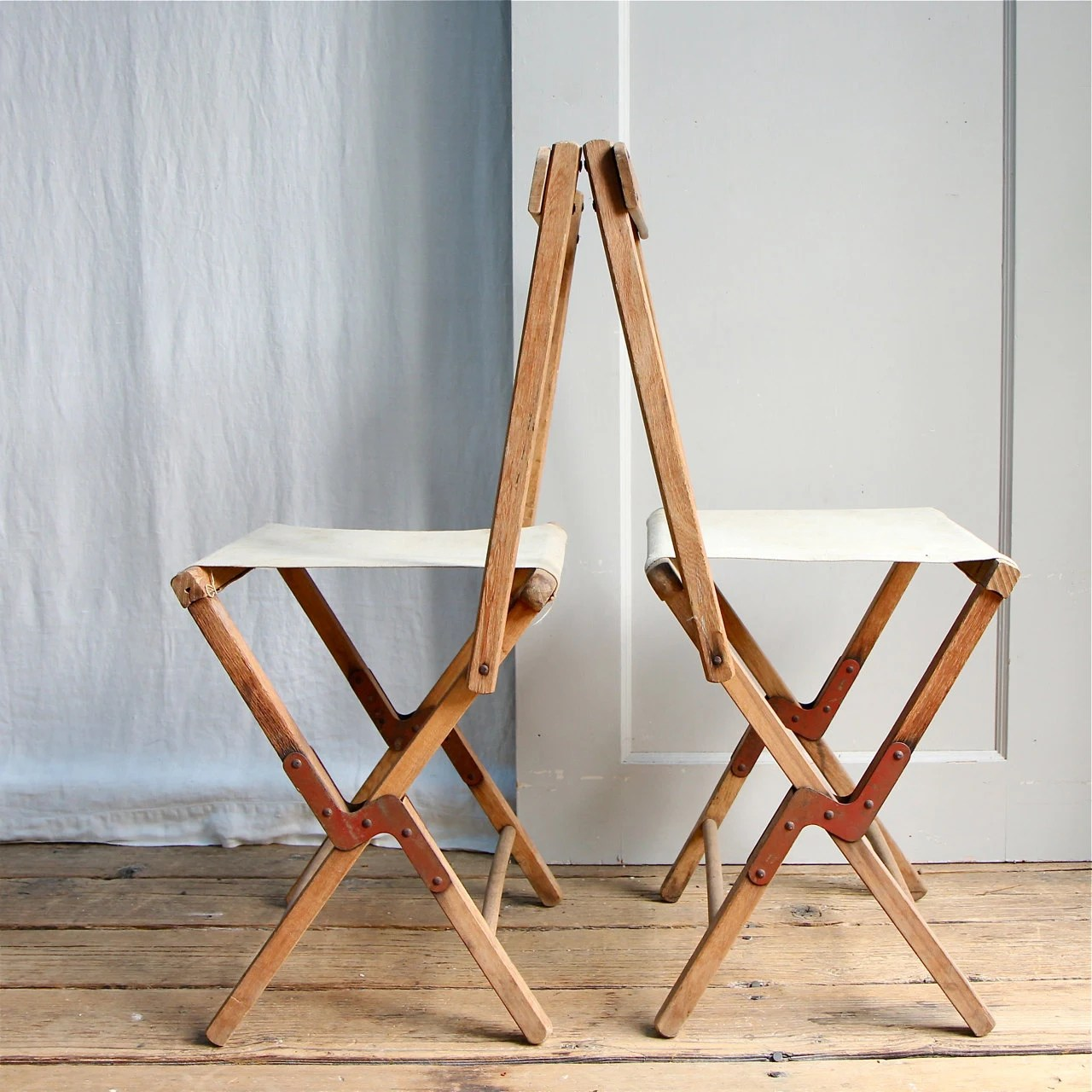 collapsible wooden chair nature design covers vintage rustic folding camp stool canvas by ethanollie
