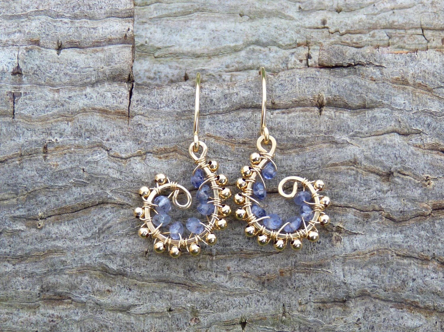 iolite and 14k gold filled swirl earrings - iolite earrings - gold earrings - wire wrapped earrings - handmade - artisan - handmade jewelry - Leoben