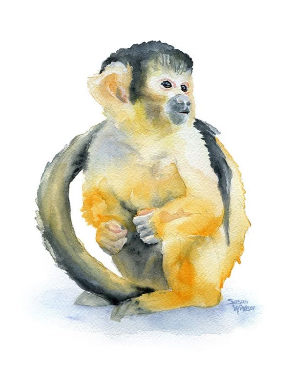 Monkey Watercolor Painting Giclee Print 8 x 10 Squirrel