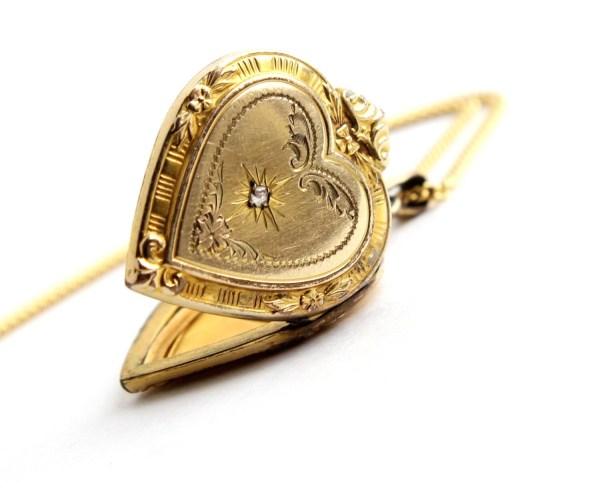Antique Heart Locket Diamond Necklace 12k Gold Filled Signed