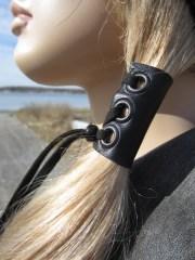 leather hair ties wraps black ponytail
